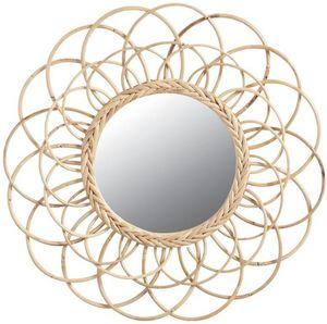 Aubry-Gaspard - miroir en rotin fleur - Miroir