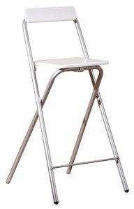 COMFORIUM - chaise de bar bois blanc et métal chromé - Chaise Haute De Bar