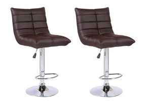 WHITE LABEL - lot de 2 chaises de bar cool similicuir chocolat - Chaise Haute De Bar