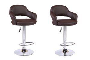 WHITE LABEL - lot de 2 chaises de bar fresh similicuir marron - Chaise Haute De Bar