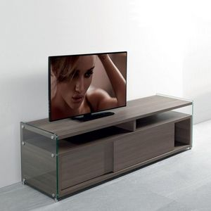 WHITE LABEL - meuble tv talac 2 portes coulissantes coloris orme - Meuble Tv Hi Fi