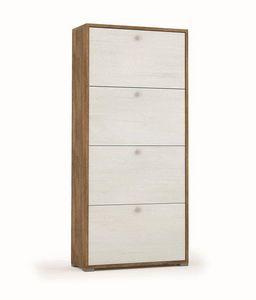 WHITE LABEL - meuble à chaussures mila chêne foncé 4 portes - Meuble À Chaussures
