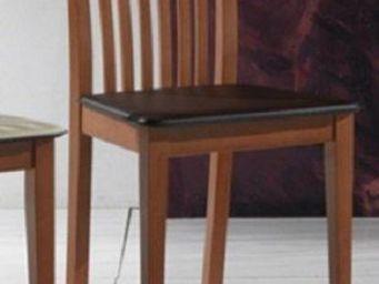 WHITE LABEL - chaise tema merisier assise en cuir brun foncé - Chaise