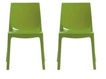 WHITE LABEL - lot de 2 chaises ice empilable design vert brillan - Chaise
