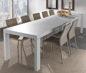 WHITE LABEL - table repas extensible wind design blanc 140 cm - Table De Repas Rectangulaire