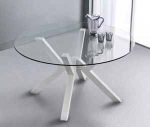 WHITE LABEL - table repas teorema en verre design blanc 140 cm - Table De Repas Ronde