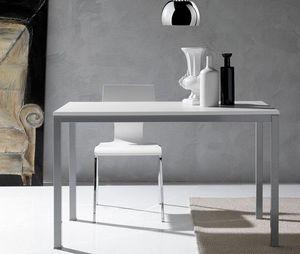 WHITE LABEL - table repas kerwiin design blanc 140 cm - Table De Repas Rectangulaire