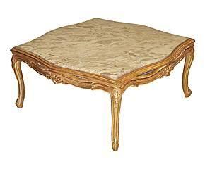 Demeure et Jardin - belle table basse marbre rose bois doré - Table Basse Carrée