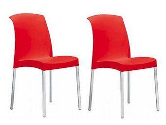 WHITE LABEL - lot de 2 chaises jane design rouge - Chaise