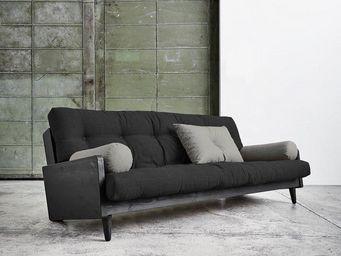 WHITE LABEL - canapé noir 3/4 places convertible indie futon dar - Canapé 3 Places