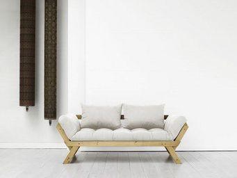 WHITE LABEL - banquette méridienne pin massif miel futon écru be - Méridienne