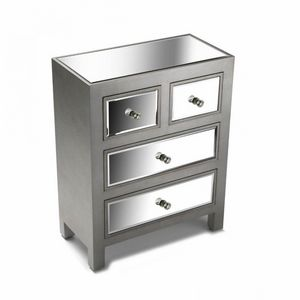 WHITE LABEL - commode 4 tiroirs tower design argenté et miroir - Commode