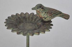 Demeure et Jardin - mangeoire � oiseaux tournesol en fer forg� vert de - Mangeoire � Oiseaux