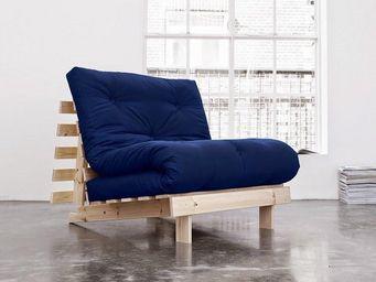WHITE LABEL - fauteuil bz style scandinave roots futon bleu roya - Fauteuil