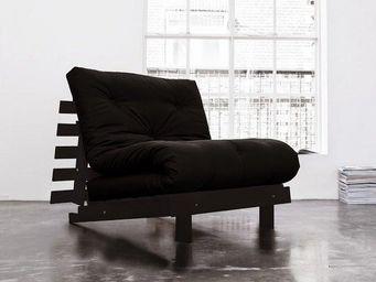 WHITE LABEL - fauteuil bz wengé roots futon noir couchage 90*200 - Fauteuil