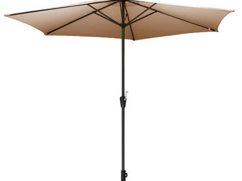 PROLOISIRS - parasol rond 3m toile polyester taupe - Parasol