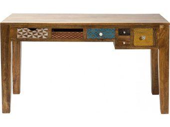 Kare Design - bureau en bois soleil 6 tiroirs 135x60 cm - Bureau