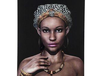 Kare Design - tableau en verre african queen face - Tableau Décoratif