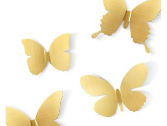 Umbra - déco murale papillons métal (lot de 9) laiton mat - Décoration Murale
