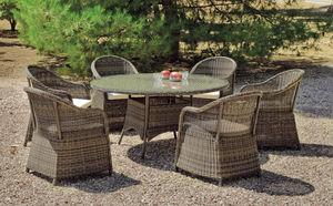 HEVEA - table jardin ronde paille tressée amanada - Salle À Manger De Jardin