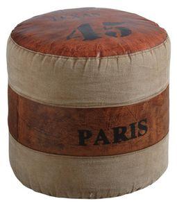 Aubry-Gaspard - pouf rond en coton et cuir - Pouf