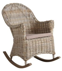 Aubry-Gaspard - rocking chair en poelet gris - Rocking Chair