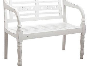 Aubry-Gaspard - banc de jardin en bois blanc antique - Banc De Jardin