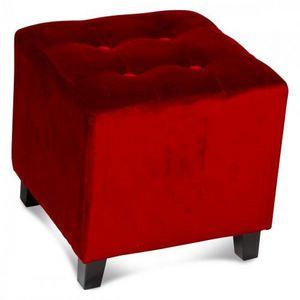 Demeure et Jardin - pouf carré capitonné en velours rouge - Pouf