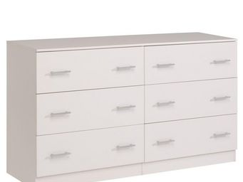 WHITE LABEL - commode 6 tiroirs blanc - nity - l 150 x l 44 x h  - Commode