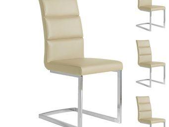 WHITE LABEL - quatuor de chaises eco-cuir beige - loni - l 45 x  - Chaise
