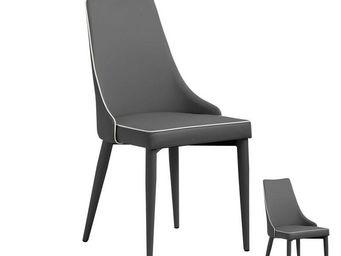 TOUSMESMEUBLES - duo de chaises eco-cuir gris - galvo - l 57 x l 51 - Chaise