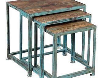 WHITE LABEL - tables gigognes - broc - l 58 x l 40 x h 51 - bois - Tables Gigognes