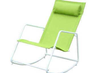 WHITE LABEL - fauteuil à bascule vert - toggle - l 116 x l 55 x  - Rocking Chair