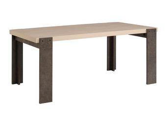 WHITE LABEL - table de repas pin cendré/béton ciré - willy - l 1 - Table De Repas Rectangulaire