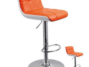 WHITE LABEL - duo de tabourets de bar simili cuir orange - jenny - Chaise Haute De Bar