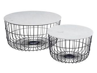 TOUSMESMEUBLES - duo de tables basses marbre/noir - plamar - l 70 x - Table Basse Ronde