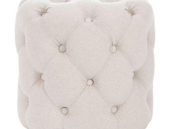 WHITE LABEL - pouf rond capitonné ivoire - cappy - l 45 x l 45 x - Pouf