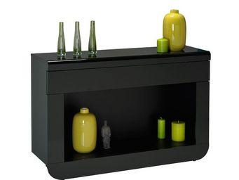 WHITE LABEL - console 1 tiroir à leds noir - fily - l 120 x l 36 - Console