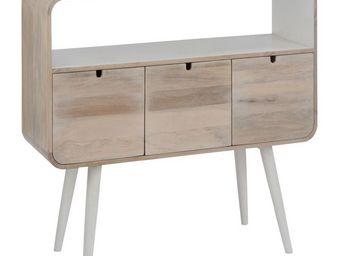 WHITE LABEL - console 3 tiroirs 1 niche bois/blanc - metro - l 1 - Console