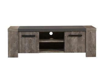 WHITE LABEL - meuble tv 2 portes - robinson - l 152 x l 50 x h 5 - Meuble Tv Hi Fi