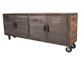 WHITE LABEL - meuble tv 4 portes sur roulettes - fabrik - l 200  - Meuble Tv Hi Fi