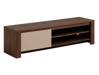 WHITE LABEL - meuble tv 1 abattant noyer/mastic - gringo - l 152 - Meuble Tv Hi Fi