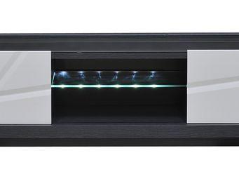 WHITE LABEL - meuble tv 2 portes - stripe - l 180 x l 50 x h 45  - Meuble Tv Hi Fi