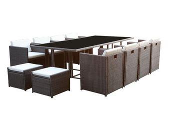 WHITE LABEL - table + fauteuils + poufs gris - borabora - l 235  - Salle À Manger De Jardin