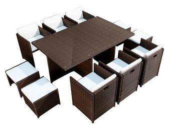 WHITE LABEL - salon de jardin chocolat - ostara - l 180 x l 115  - Salle À Manger De Jardin