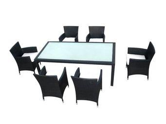 WHITE LABEL - ensemble table et chaises de jardin - glover - l 2 - Salle À Manger De Jardin