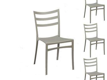 WHITE LABEL - quatuor de chaises gris clair - mya - l 51 x l 47  - Chaise