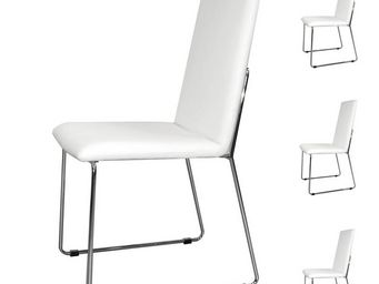 WHITE LABEL - quatuor de chaises simili cuir blanc - turin - l 5 - Chaise