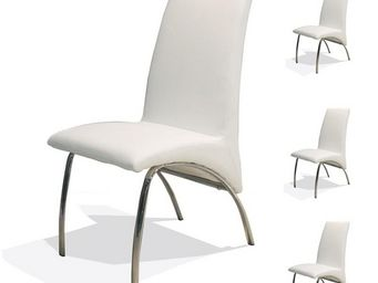 WHITE LABEL - quatuor de chaises simili cuir blanc - dora - l 47 - Chaise