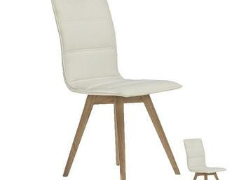 WHITE LABEL - duo de chaises simili cuir blanches - kano - l 43  - Chaise